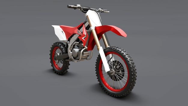 Rot-weißes sportfahrrad für den langlauf. racing sportbike. modernes supercross motocross dirt bike. 3d-rendering.