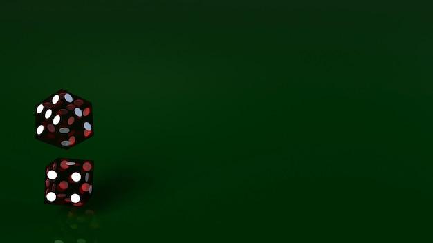 Rot würfelt auf nahem hohem bild der grünen wiedergabe 3d.
