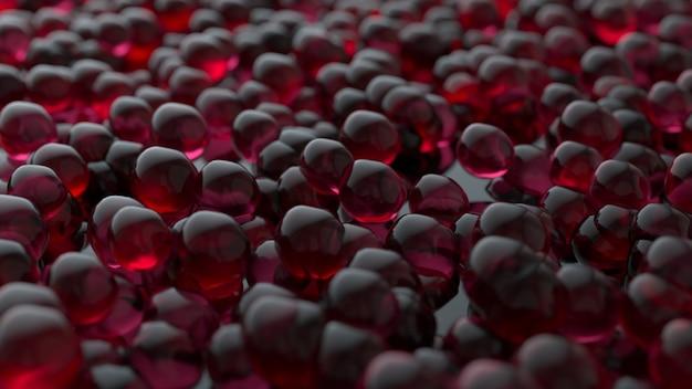 Rote abstrakte transparente kugeln oder kaviarfischrogen