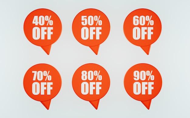 Rote abzeichenvorlagen für rabatt oder verkauf 40 50 60 70 80 90 prozent 3d-darstellung