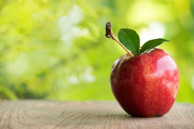 Rote apfelfrucht auf natur.