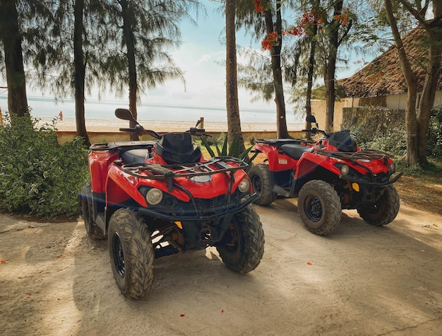 Rote atvs auf dem hintergrund einer tropischen landschaft. atv-verleih-, erholungs- und tourismuskonzept.