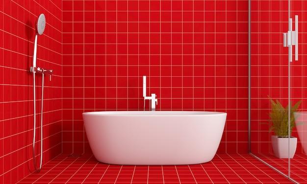 Rote badezimmerinnenbadewanne