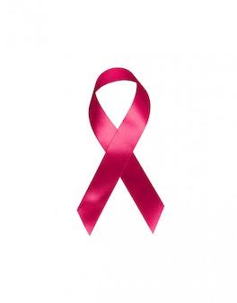 Rote bandsymbol-bogenfarbe, die bewusstsein auf den leuten leben mit dem tumor brustkrebs lokalisiert anhebt