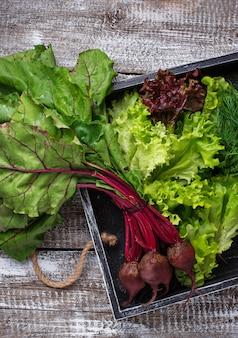 Rote beete, salat und petersilie in holzkiste