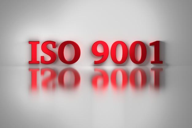 Rote buchstaben der qualitätsnorm iso 9001 für ein qualitätsmanagementsystem, das sich auf der weißen oberfläche widerspiegelt.