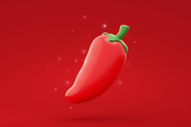 Rote chilischoten cartoon auf rotem hintergrund 3d-rendering