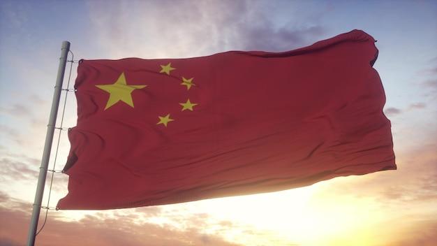 Rote chinesische fahne, die dramatisch schwenkt. zeichen des landes der volksrepublik china. 3d-rendering.