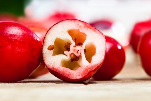 Rote cranberry-beeren schneiden, fruchtfleisch und kerne von reifen sauren cranberries, cranberry-beeren in scheiben geteilt