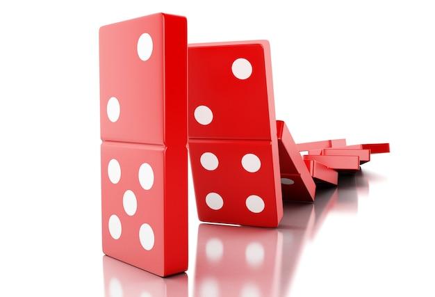 Rote dominofliesen 3d, die in folge fallen