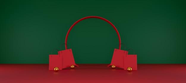 Rote einkaufstasche auf rotem und grünem hintergrundverkaufsfahnendesign 3d-darstellung