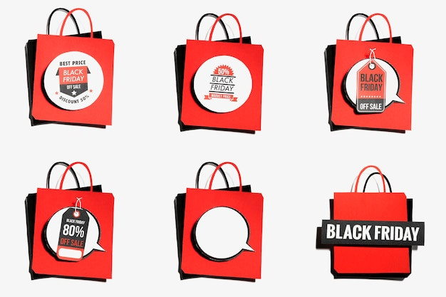 Rote einkaufstasche mit black friday angeboten