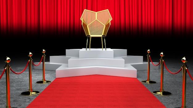 Rote ereignis-teppich-, treppen-und goldseil-sperren-konzept- und könig thron-stuhl 3d wiedergabe