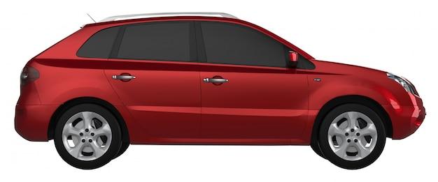 Rote farbe der kompakten stadtkreuzung auf einem weißen hintergrund. 3d-rendering.