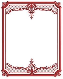 Rote farbe des klassischen formteilrahmens mit verzierungsdekor für den klassischen innenraum lokalisiert