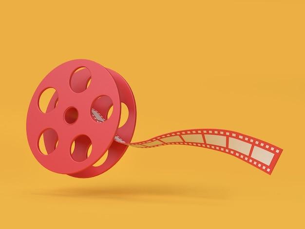 Rote filmrolle, die gelben hintergrund schwimmt