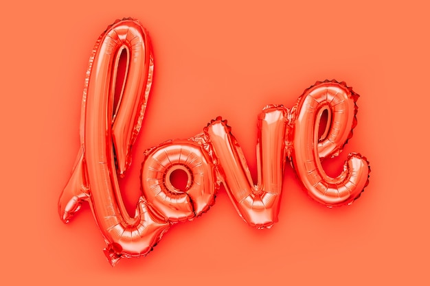 Rote folienballons in form des wortes