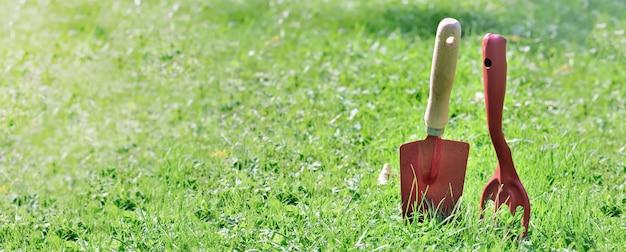 Rote gartengeräte, die im gras im garten im panoramablick pflanzen