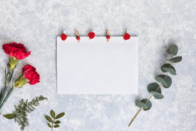 Rote gartennelkenblumen mit papier auf tabelle