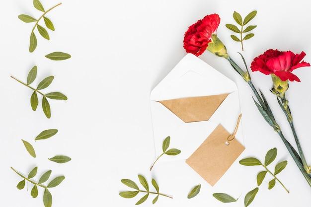 Rote gartennelkenblumen mit umschlag und papier