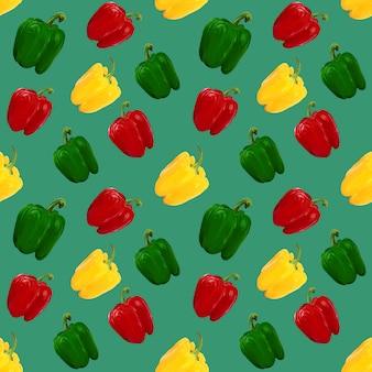 Rote, gelbe, grüne paprika. pflanzliches nahtloses muster auf hellgrünem hintergrund.