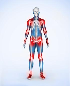 Rote gelenke eines blauen digitalen skelettkörpers