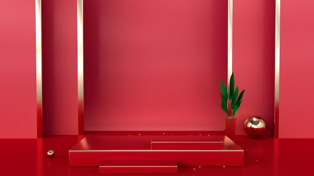 Rote geometrische bühne des 3d-renderings mit podium für produktanzeige