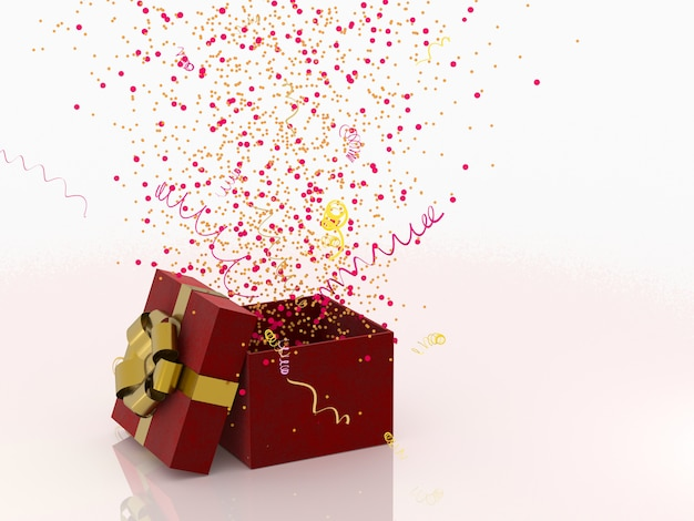 Rote geschenkbox mit goldenem bogen auf weißem hintergrund mit dekoration und scheinpartei confetti, ausläufer. festliches oder anwesendes konzept der wiedergabe 3d.