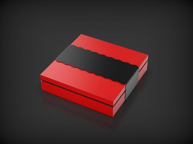 Rote geschenkbox mocup isoliert