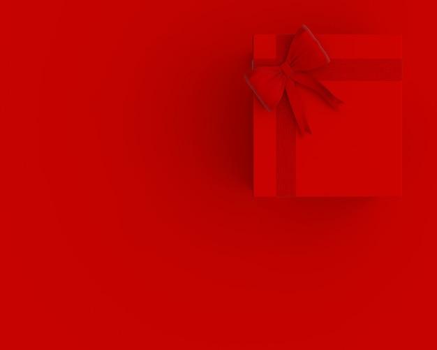 Rote geschenkbox und exemplarplatz für ihren text. minimales konzept 3d übertragen.