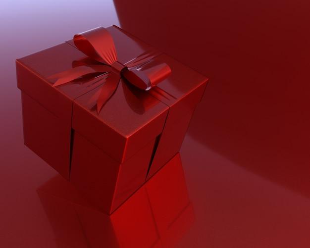 Rote geschenkbox und exemplarplatz für ihren text.