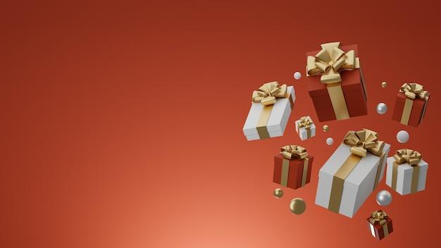 Rote geschenkboxen für weihnachten und neujahr