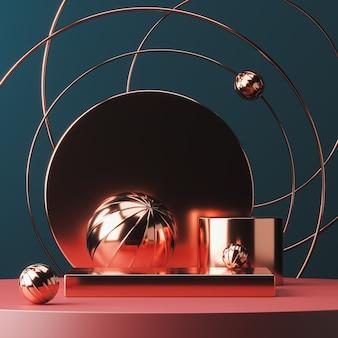 Rote glänzende plattform auf vielen rot glänzenden objekten in szene, abstrakter hintergrund für präsentation oder werbung. 3d-rendering