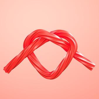 Rote herz-form-süßigkeit minimale konzeptidee auf rotem hintergrund. 3d-rendering