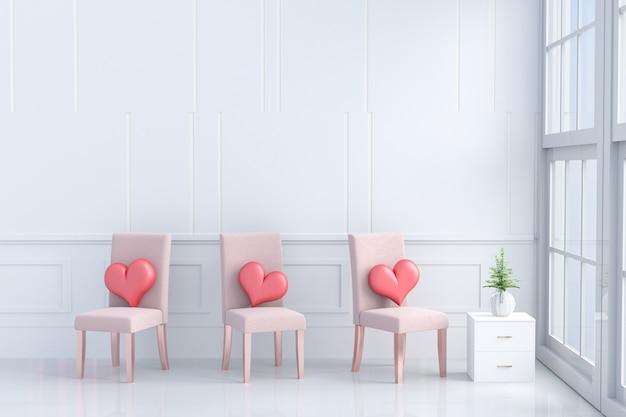 Rote herzen auf orange-rosa stuhl im raum der liebe. räume der liebe am valentinstag. 3d
