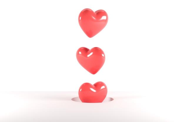 Rote herzformen, die vom loch auf weißem hintergrund schweben. 3d-rendering. minimale valentinstag-konzept-idee.