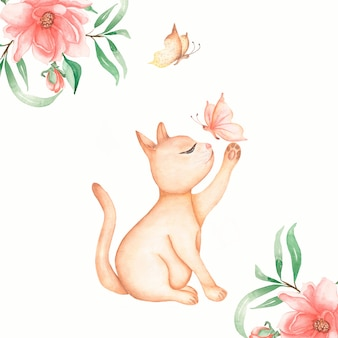 Rote inländische sitzende katze mit schmetterlings- und blumenkarte. anziehende schmetterlinge der niedlichen katzen-miezekatze. aquarell hand gezeichnete abbildung