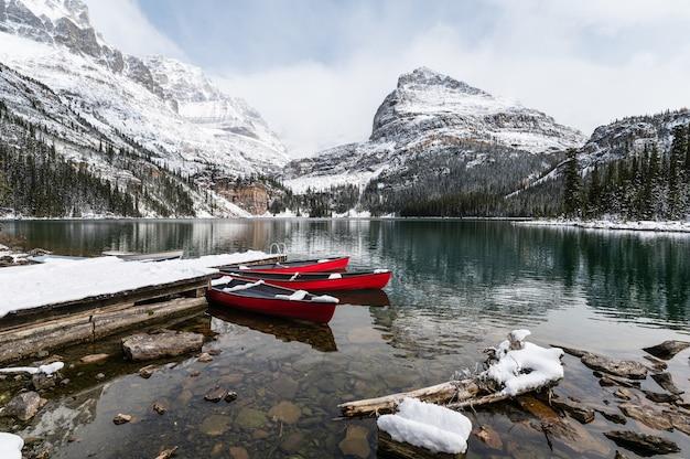 Rote kanus, die im verschneiten tal am hölzernen pier geparkt werden. see o'hara, yoho nationalpark, kanada