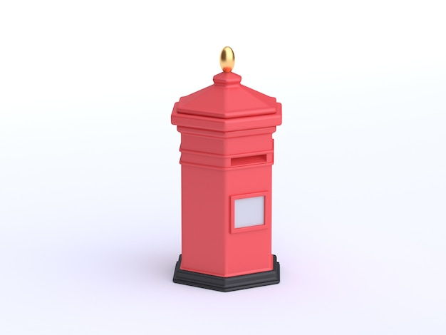 Rote karikaturart 3d des briefkastens 3d überträgt weiß