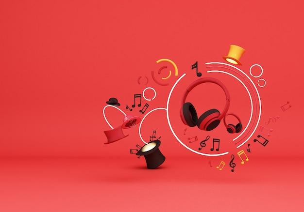 Rote kopfhörer mit notenmusik und bunten hüten auf 3d-rendering des roten hintergrunds