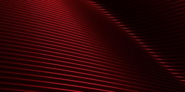 Rote kurve verzerrte form parallele linien rote kunststoffrohrbeschaffenheit moderne abstrakte 3d-illustration