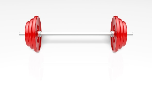 Rote langhanteln mehr gewicht für fitness und übungen.