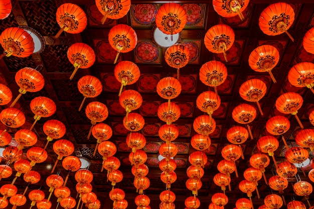 Rote laternen während für chinesisches festival des neuen jahres