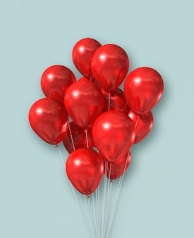 Rote luftballons gruppieren sich auf einer hellblauen wand. 3d-illustration rendern