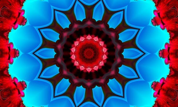 Rote mandala-konzentrische blumen-kaleidoskop-mitte. kaleidoskopisches designmuster.