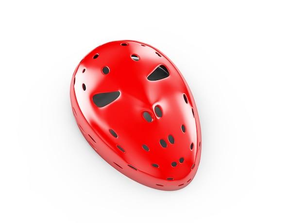 Rote maske auf weißem hintergrund, 3d-darstellung