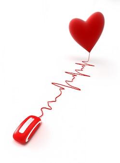 Rote maus, die durch ein kabel in form einer herzschlaggrafik mit einem roten herzen verbunden ist