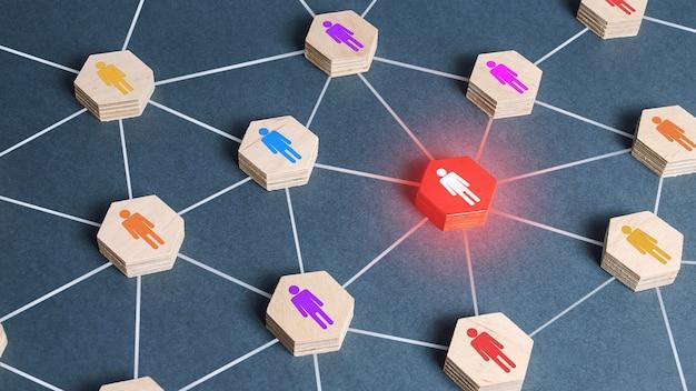 Rote menschliche figur in einem netzwerk. kooperation, zusammenarbeit. spion