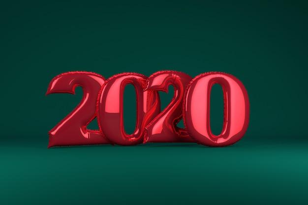 Rote metallische aufblasbare zahlen 2020 auf grün. luftballons. neujahr. 3d render ,.