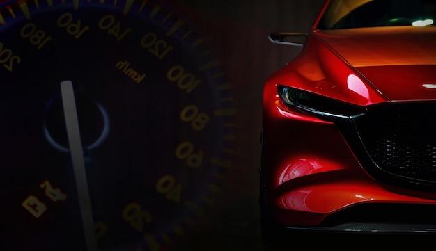 Rote moderne autoscheinwerfer auf schwarzem hintergrundkopierraum